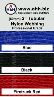 2″ Professional Grade Tubular Nylon Webbing: is available in these colors