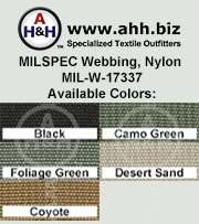 (25mm) 1″ MILSPEC Nylon Webbing Nylon MIL-W-17337: is available in these colors