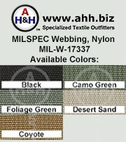 (50mm) 2″ MILSPEC Nylon Webbing Nylon MIL-W-17337 is available in these colors