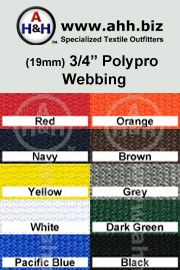 3/4″ Regular Polypropylene Webbing (Poly-Pro Webbing): is available in these colors