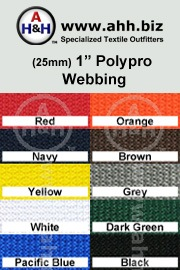 1″ Regular Polypropylene Webbing (Poly-Pro Webbing) is available in these colors