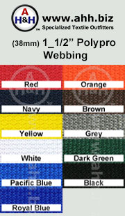 1_1/2″ Regular Polypropylene Webbing (Poly-Pro Webbing) is available in these colors
