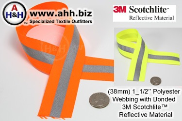 Reflective Webbing with 3M Scotchlite™ 1 1/2 inch with Polyester base fabric