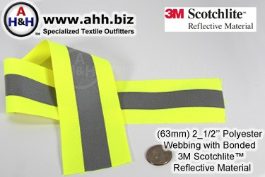 Reflective Webbing with 3M Scotchlite™ 63mm with Polyester base fabric