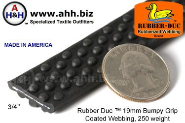 "3/4"" Rubber Duc™ brand Rubber Coated Webbing Bumpy Grip 19mm, 250 weight"