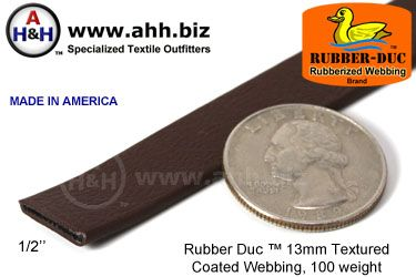 "1/2"" Rubber Duc™ brand Rubber Coated Webbing Textured 13mm, 100 weight"
