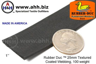 "1"" Rubber Duc™ brand Rubber Coated Webbing Textured 25mm, 100 weight"