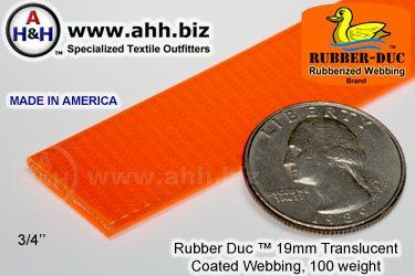 "3/4"" Rubber Duc™ brand Rubber Coated Webbing Translucent 19mm, 100 weight"