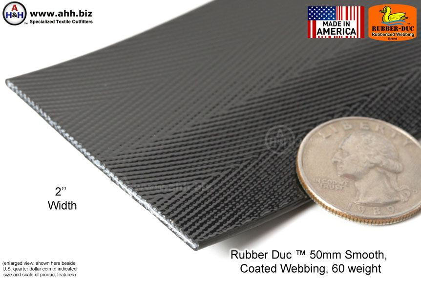 Rubber Duc 50mm Smooth Rubber Coated Webbing 60 Weight